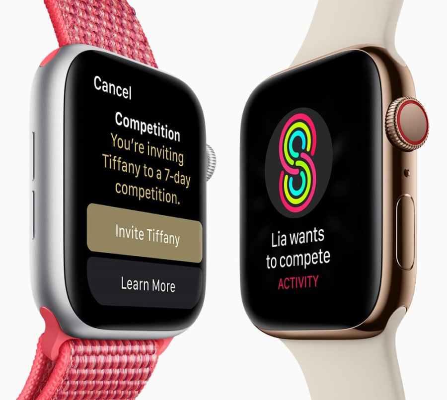 Render oficial del frente del Apple Watch 4 con diferentes mallas.