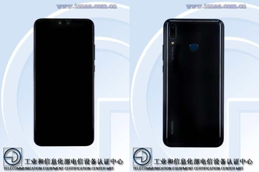 Render del frente y dorso del supuesto Huawei Y9 (2019).