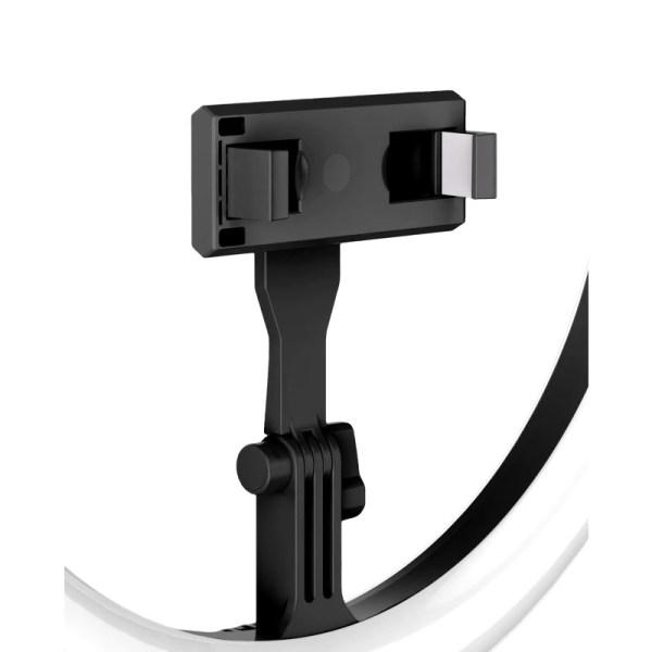 Lampa neagra circulara Ring Light Selfie SmartGSM® cu suport de telefon si trepied reglabil pe inaltime 52-170 cm, 144 Leduri, Diametru 29 cm