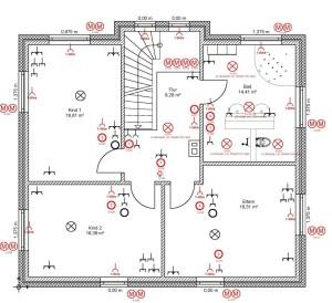 Elektroinstallation - Grundriss eines Hauses