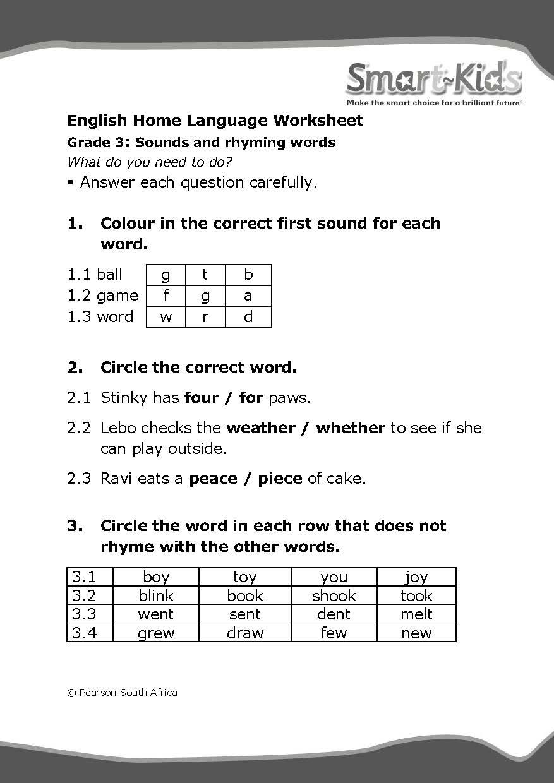 medium resolution of Rhyming Words Worksheets For Grade 3