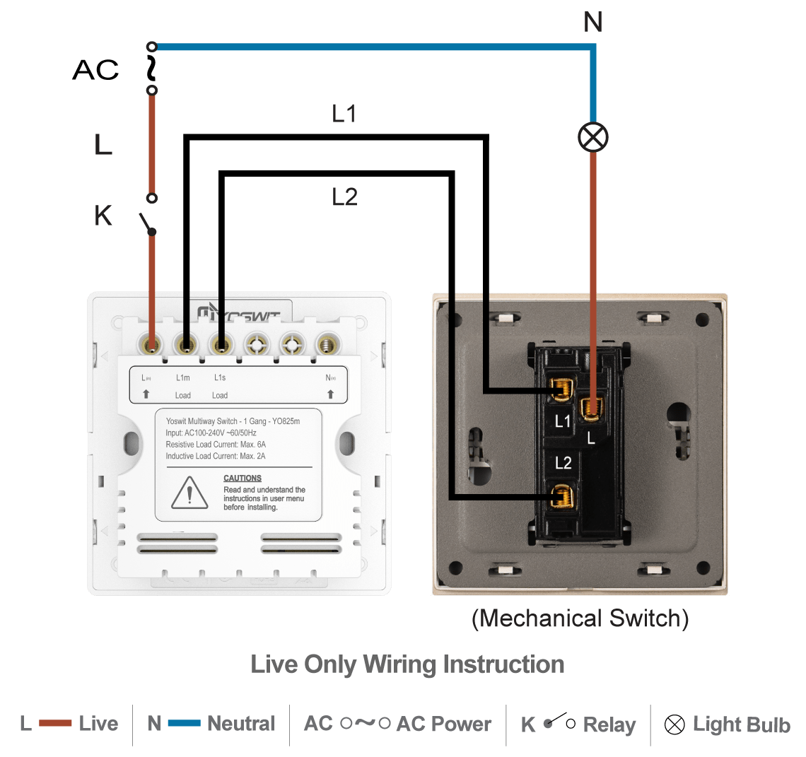 hight resolution of option 1 connect yoswit 3 way switch with common 3 way switch 2 wire without neutral wire