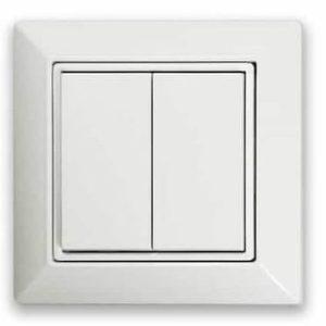 Interrupteur mural carré Casambi 2 touches blanc
