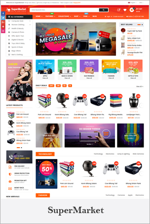 SuperMarket - Responsive Drag & Drop Sectioned Bootstrap 4 Shopify Theme