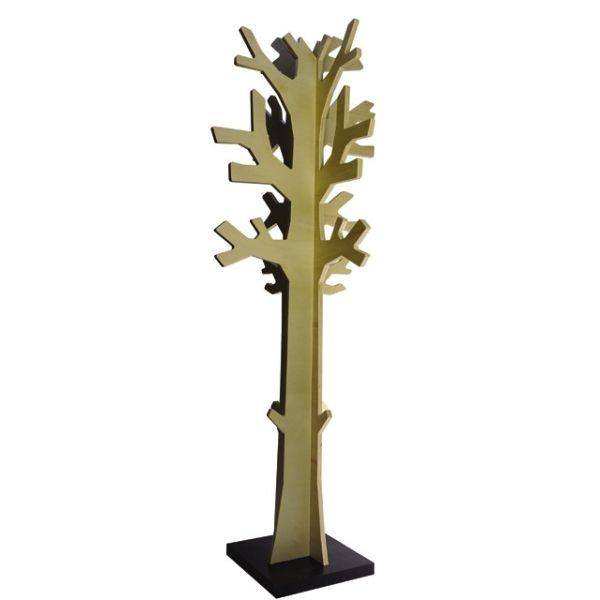 Attaccapanni da terra a forma di albero in legno naturale