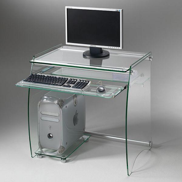 Scrivania computer porta PC in vetro 75 x 55 cm Clear
