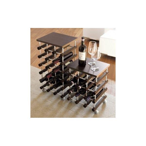 Cantinetta porta bottiglie su ruote modulare in legno Top18