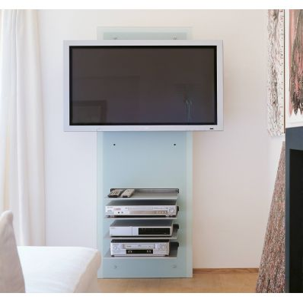 Mobile porta TV da parete in cristallo con ripiani William