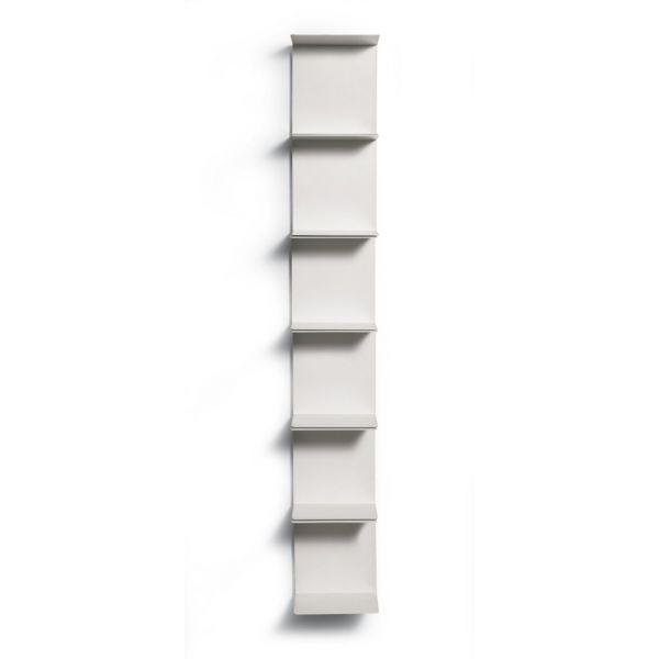Libreria da parete BIANCA verticale con mensole metalliche in ACCIAIO Ghost  eBay
