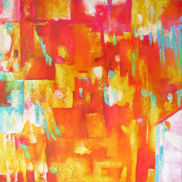 V38 Happy 2 Abstract Art Interior Artwork Hand Painted Paintings