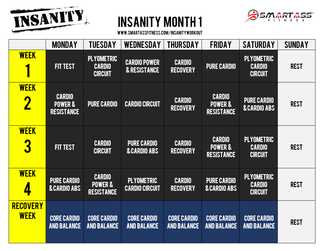 insanity workout schedule png