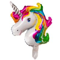 Balon Folie Minifigurina Unicorn, suport bat inclus, 35 cm