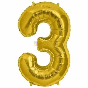 Balon folie cifra 3 auriu (gold) 100 cm