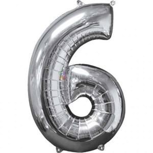 Balon folie cifra 6 argintiu (silver) 100 cm