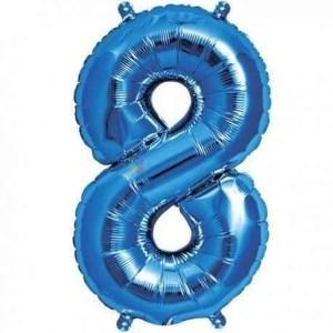 Balon folie cifra 8 albastru 100 cm