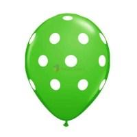 balon latex imprimat verde cu buline