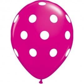 Balon latex roz cu buline, 30 cm,