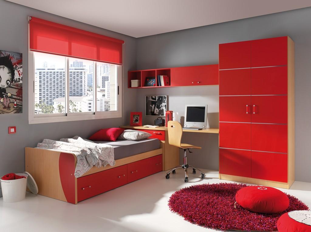 chambre d enfant 11 pieces rouge smart bed