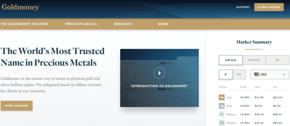 GoldMoney Home Website