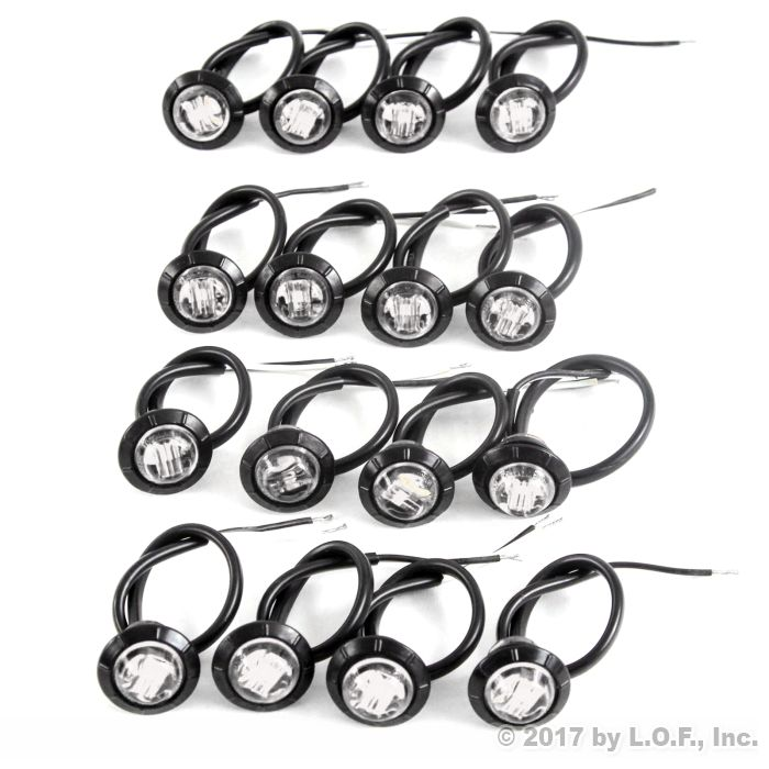 16 Clearance Side Marker Lights Clear LED 3/4