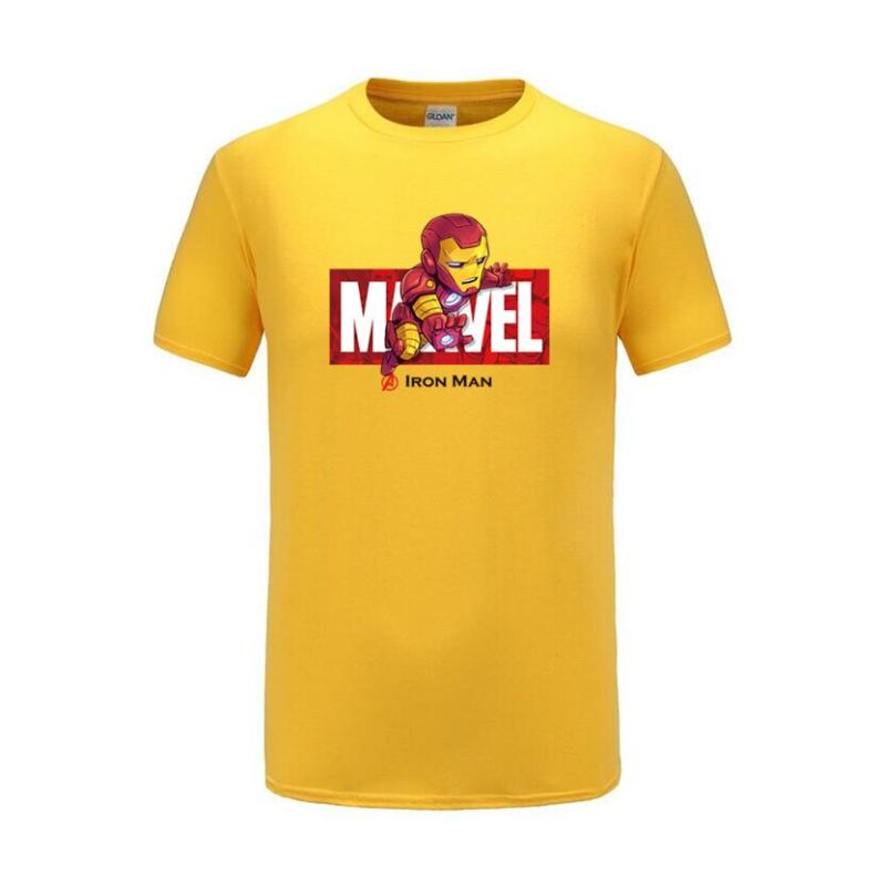cotton t shirts ironman yellow