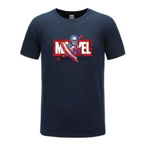 cotton t shirts captain america navy blue