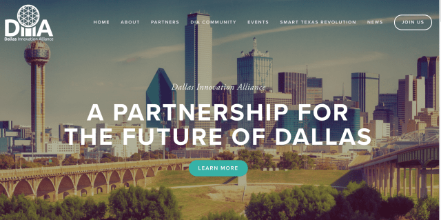 Dallas Innovation Alliance Landing Page with downtown Dallas in background and Text -a partnership for the future of Dallas.ong