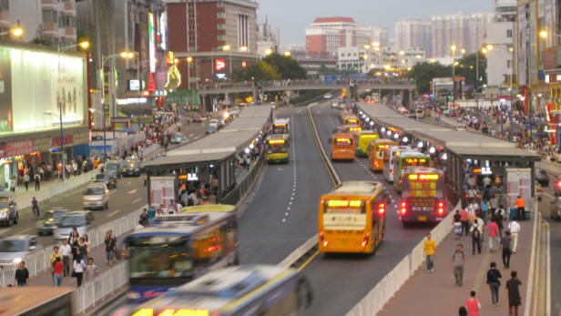 A view of Gangding Station of the Guangzhou bus rapid transit system in China