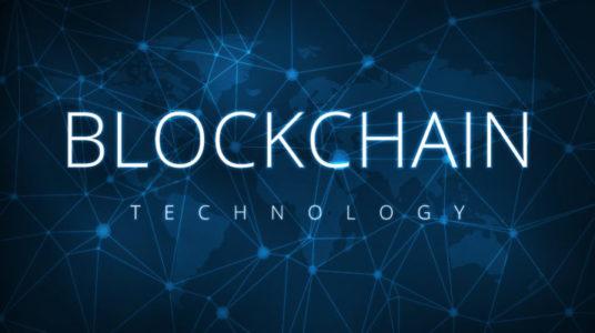 Blockchain technology futuristic hud banner.