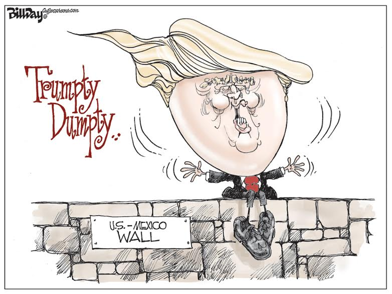 Image result for caricature trump and the wall