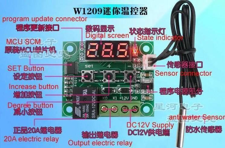 110 Volt Schematic Wiring Diagram Digital Thermostat Module Model Xh W1209 Manufacturer