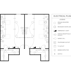 electrical plan patient room  [ 1000 x 1000 Pixel ]