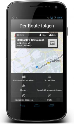 google maps navigation menu