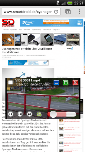 Super Video, Floating Screenshot