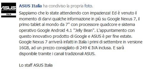 ASUS Italien Nexus 7 Facebook
