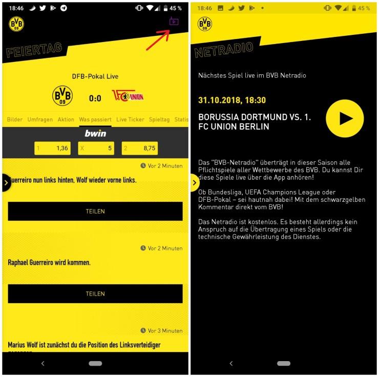 BVB Netradio Android-App Screenshot