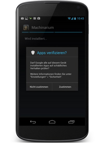 App Verifizierung Screenshot