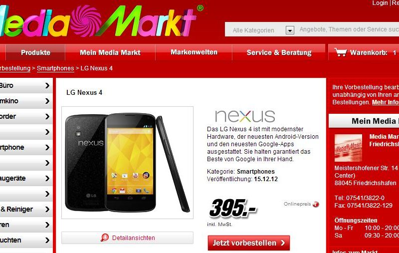 nexus 4 media markt