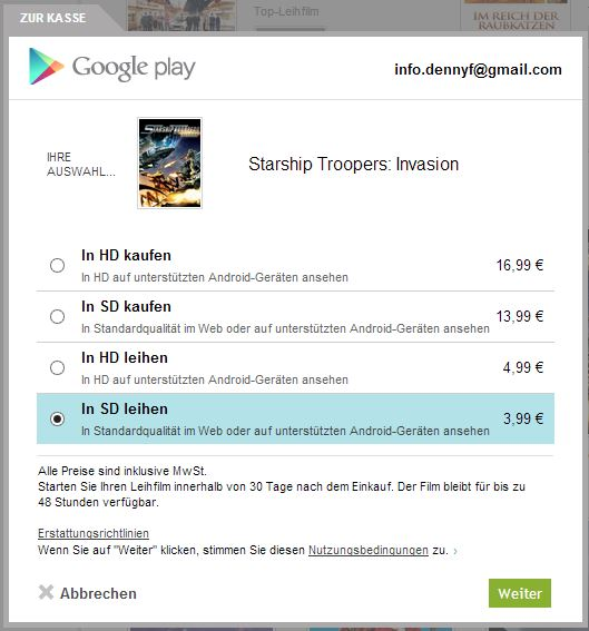 Google Play Filme kaufen Screenshot