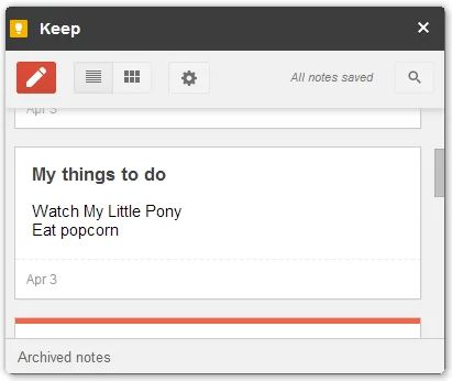 google keep extension