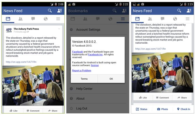 facebook 4.0 screenshots