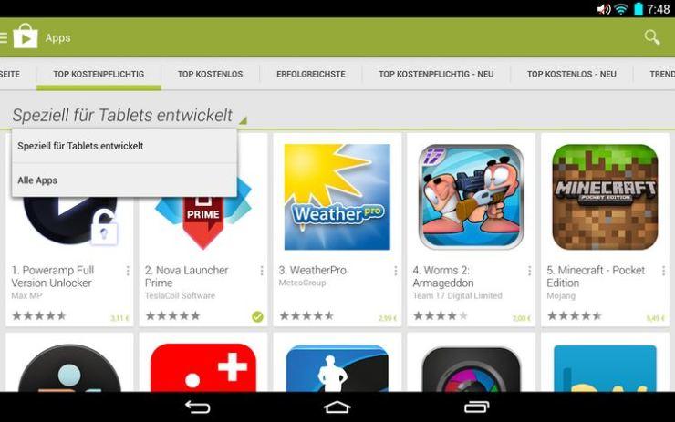 tablet kategorie play store