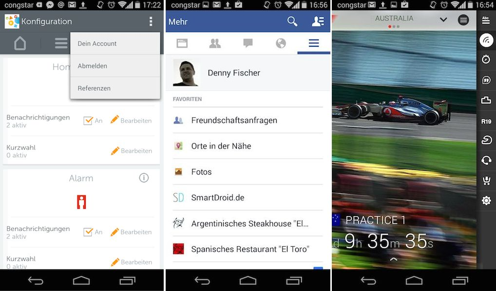 facebook gigaset f1 app button
