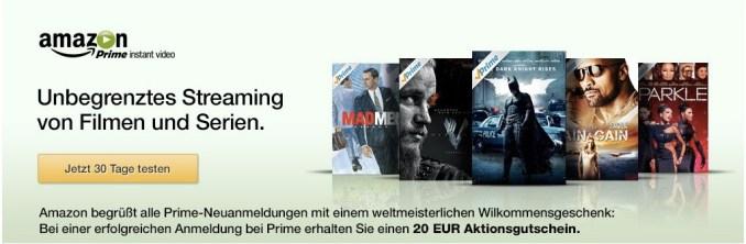 Amazon Prime 20 Euro Gutschein