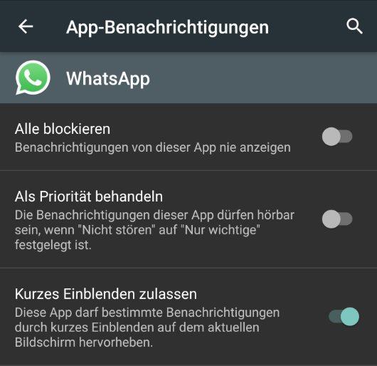kurzes einblenden option android m