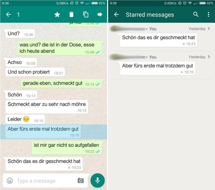 whatsapp sterne markieren android