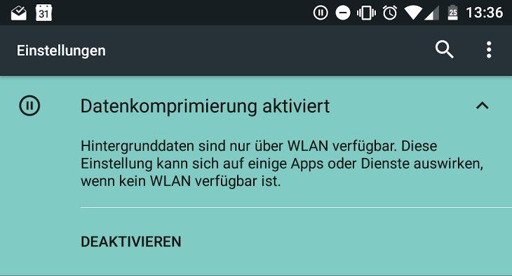 Android N Datenkomprimierung