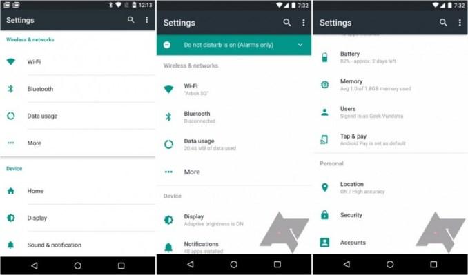 Android Systemeinstellungen leaks