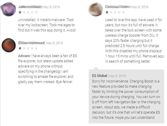ES Datei Explorer Adware Bewertungen Google Play