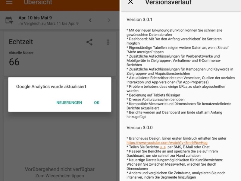 Google Analytics 3.0.1 Android Changelog